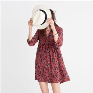 Madewell silk lace up floral Assam dress small